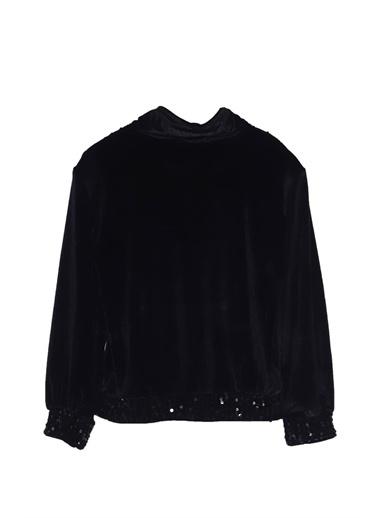 Silversun Kids Kız Çocuk Pul Payetli Fermuarlı Sweat Shirt - Jm 316924 Siyah